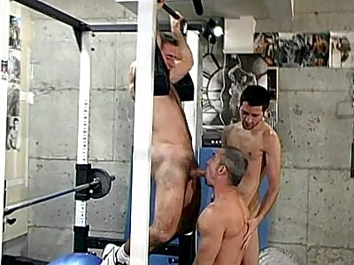 It\'s Simon August first visit to the gym and here he made friends with two horny bears, Jeff Baron and his co worker. It all starts when Jeff offered Simon help with the gym equipments but later that day, they ended up engaging in an all out threesome cock sharing.video